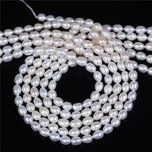 Qualità AA 6-7mm riso forma perla d'acqua dolce 16 pollici per filo all'ingrosso, sciolto perla per fare collana dei monili del braccialetto
