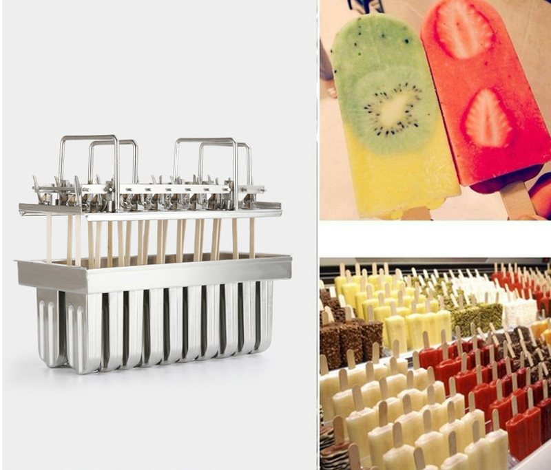 20pcs Stainless Steel Popsicle Molds Ice Cream Stick Holder Silver Home DIY Ice Cream Moulds Ice  Mould Ice Lolly Popsicle