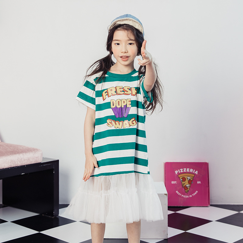 Kids Girl Clothes For 12 Years Old Child Dress Of Large Sizes Long T-shirt Dress Lace Tulle Hem Daughters Elbise Floral Dress curved hem striped tee dress