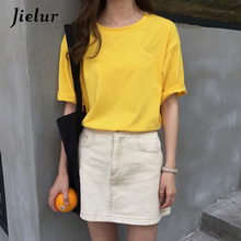 Jielur 10 Colors Candy Solid Color Korean T-Shirt for Women