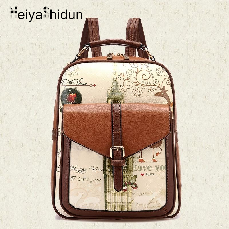 MeiyaShidun women backpacks school bags for teenagers girls fashion mochila Children daypacks brand designer PU leather backpack