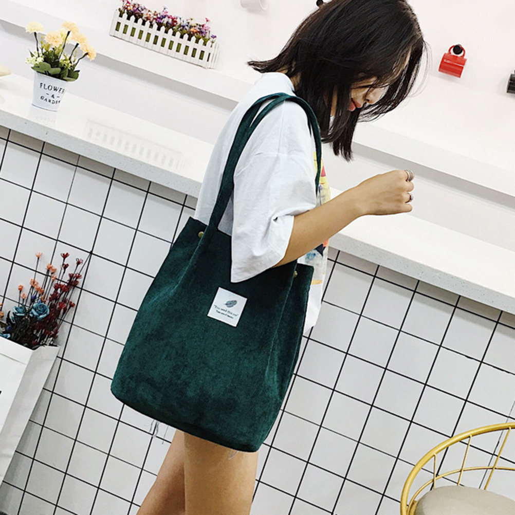2019 Tote High Capacity Women Corduroy Tote Ladies Casual Solid Color Shoulder Bag Foldable Reusable Women Shopping Beach Bag