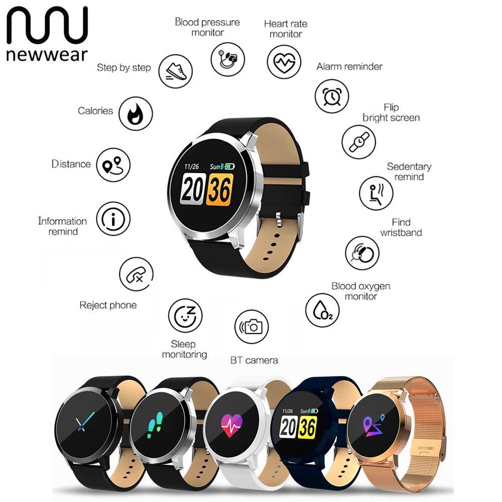 Newwear Q8 Color Touch Screen Smartwatch Fashion Smart 1080P Watch Men Women IP67 Waterproof Sport Fitness Wearable Smart Watche