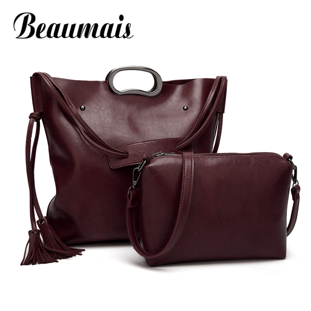 Beaumais Fashion PU Leather Shoulder Bags For Women Solid Large Capacity Tassel Shoulder Messenger Bag Composite Bag Sets DF0109