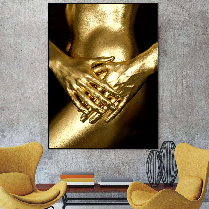 HD Print and spray painting Gold Plated Human body Modern ornamental frameless paintings Posters Wall Art 30 x 40cm in Painting Calligraphy from Home Garden