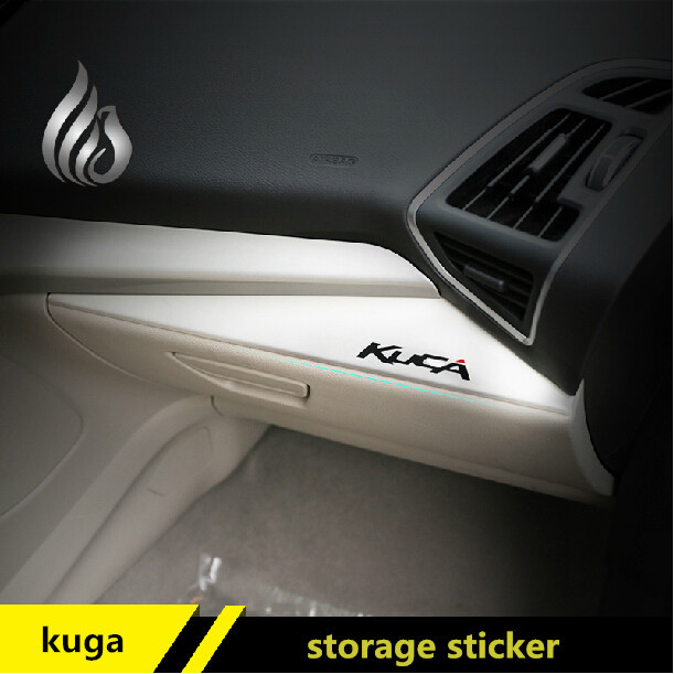 For Ford kuga Escape 2013 2014 2015 glove decoration sticker storeage box trim Metal decoration for kuga accessories дефлекторы окон skyline skoda octavia tour 96 sd hb комплект 4шт sl wv 362