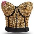 Impressionante metálico Beading & lantejoula Bra Push Up Bustier Top de uma peça do Punk do vapor Brassiere Bralette Sujetador roupa interior das mulheres