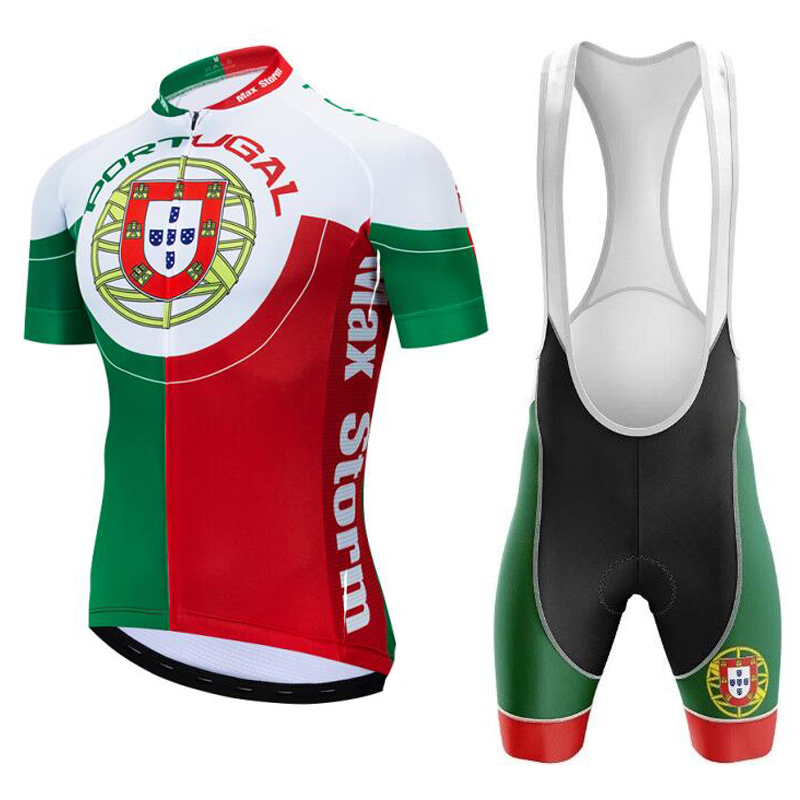 2019 New Team Portugal Cycling Jersey Customized Road Mountain Race Top Max Storm Reflective Zipper 4 Pocket