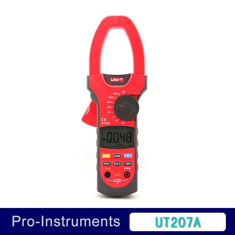 UNI-T UT207A Digital Clamp on Meter Multifunction Auto Range Multimeter AC/DC Voltage Current TEMPERATURE Tester DMM uni t ut70b lcd digital multimeter auto range frequency conductance logic test transistor temperature analog display