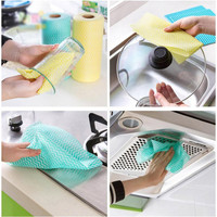 Roll Of 50Pcs Disposable Multipurpose Non Woven Fabric Nonstick Outdoor Travel Wiping Rags Cleaning Cloth Kitchen