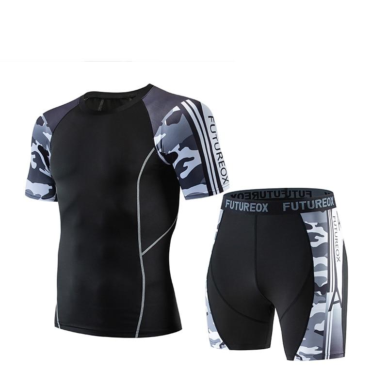 Men's Fitness Sportswear Men Jogging Compressed Bottoming Shirt Short Sleeve T-Shirt + Shorts Men's Busos Men's Clothing MMA Set