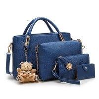 2017 Fashion Luxury Women Messenger Bags Handbag Set PU Leather Composite Bag Clutch Bag Famous Brands