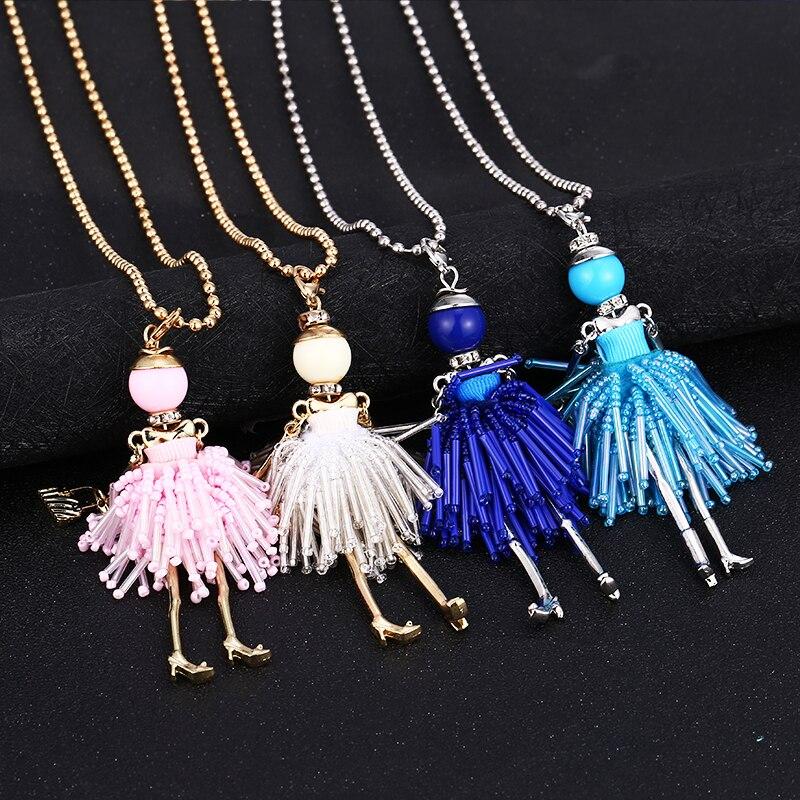 WNGMNGL 1 New Women Doll Cute Black Long Necklaces & Pendant Hot Bead Dress Baby Girls Necklace Brand Fashion Dtatement Jewelry