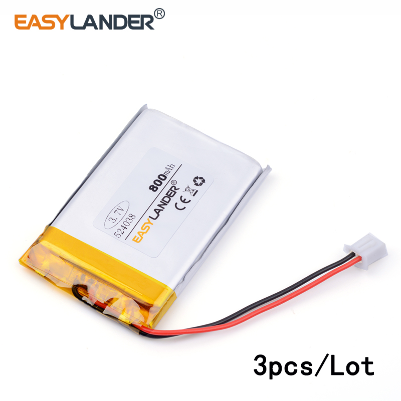 3pcs /Lot 800mAh 524038 3.7v lithium Li ion polymer rechargeable battery point reading machine battery pack medical device