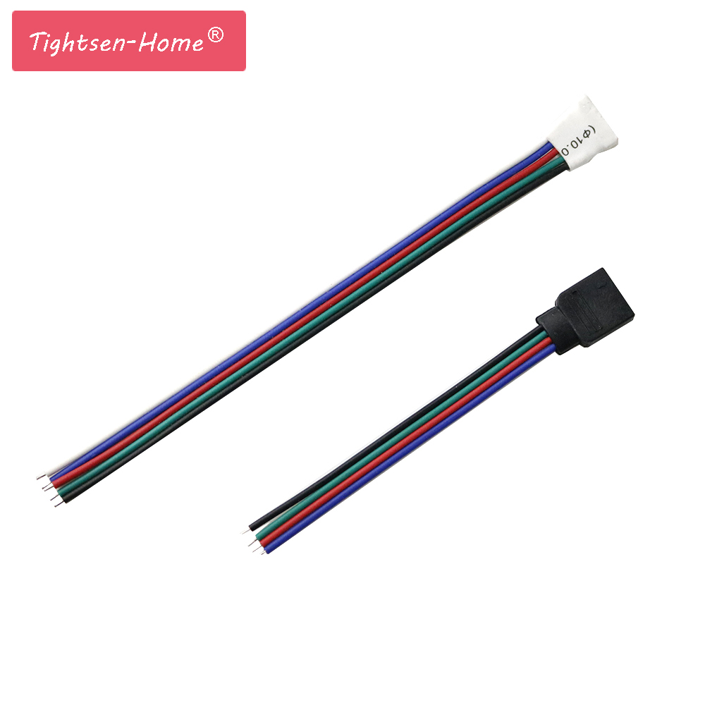 1 Pair <font><b>4</b></font> <font><b>pin</b></font> RGB <font><b>Connector</b></font> 5Pin RGBW <font><b>Connector</b></font> Male +Female LED Strip <font><b>Connector</b></font> 4pin 5pin Welding <font><b>Cable</b></font> For 5050 3528 RGB RGBW image