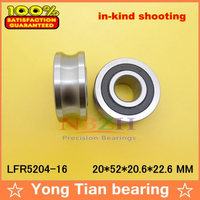 где купить 2PCS ABEC-5 16 MM track LFR5204-16 NPP LFR5204 KDD  Groove Track Roller Bearings 20*52*20.6 mm (Precision double row balls) по лучшей цене
