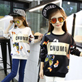 2016 Ребенок весной и осенью тонкий ребенок футболка мода основной рубашка персонализированные печати девочка футболка пуловер