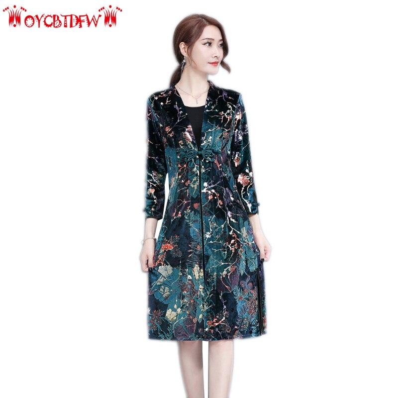 Robe d'été vente automne robes femmes 2018 nouveau o-cou grande taille mi-longue Section impression trois quarts manches femme Ll459
