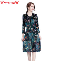 Summer Dress Sale Autumn Dresses Women 2018 New O neck Plus Size Mid long Section Printing Three Quarter Sleeve Female Ll459