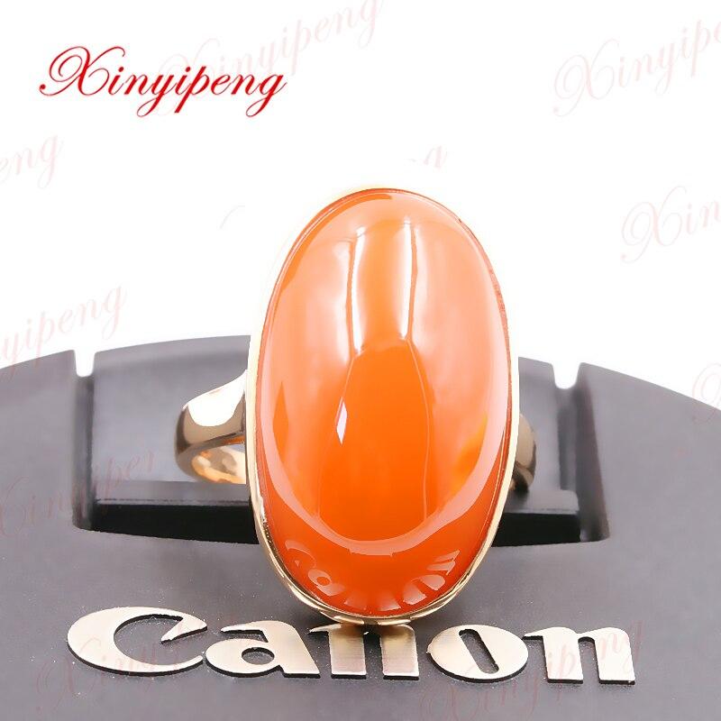 Xinyipeng 18 К цвета розового золота инкрустированные Природный южного красный агат кольца для женщин дизайн красивый