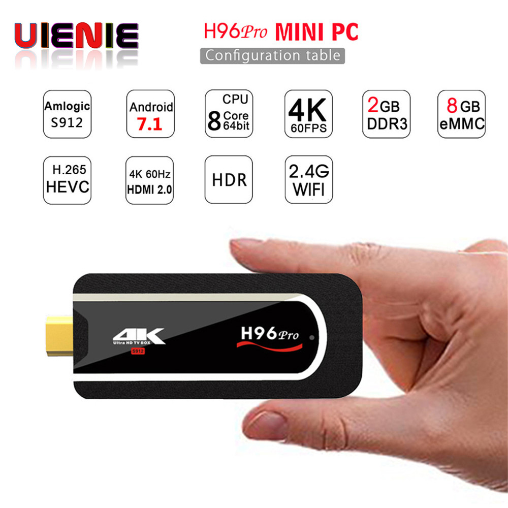 H96pro Mini PC S912 2g 8g 64bit Android 7.1 2.4 3gwifi 4 k HDMI Stick TV chromecast BT4.1 plein-HD h96pro plus android smart tv box