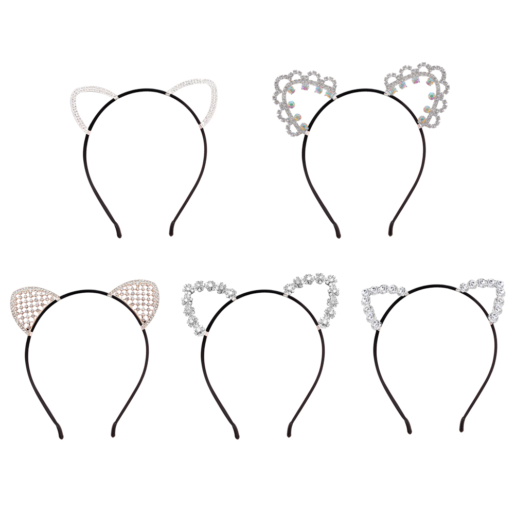 1pc Graceful Stylish Glitter Cat Ears Head Hoop Halloween Cosplay Ear Diagram Party Crystal Hairband Headwear In Hair Jewelry From Accessories On