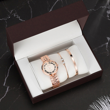 hot deal buy 4pcs high quality watches for gift women's quartz watches with 2pcs stainless steel bracelet set with gift box top sell clock