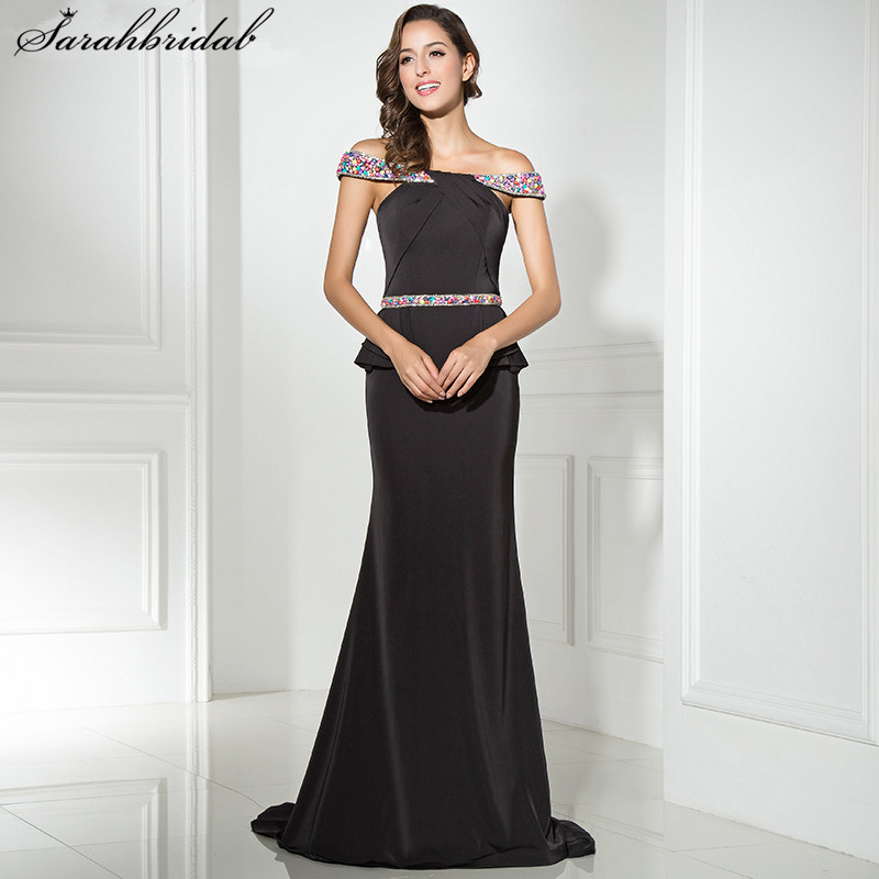 High Quality Sexy Long   Evening     Dresses   Mermaid Bateau Sexy Back Zipper Floor Length Crystal Beading Robe De Soiree LSX311
