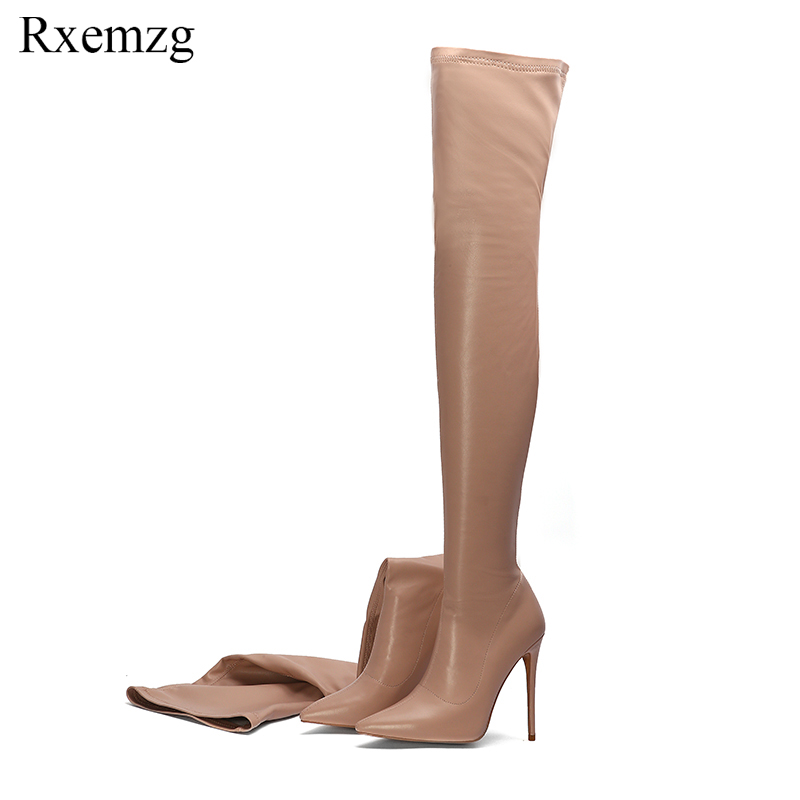 Rxemzg 2019 fashion runway stretch sock boots pointy toe over the knee heel thigh high pointed