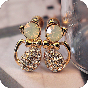 Wholesale (mix order),Min order is $15The Luxury Ladies Full Stone Cute Cat/Kitty Bowknot Cat Earrings free shipping