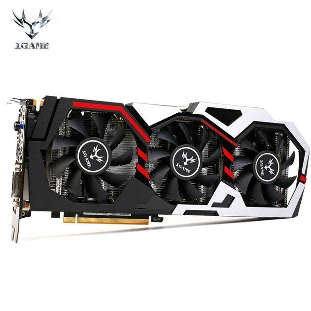 Colorido iGame 1080 GPU NVIDIA GeForce GTX 8 GB 256bit Gaming GDDR5X PCI-E X16 3.0 VR Ready Vídeo Placa Gráfica Ventilador de Refrigeração de Três