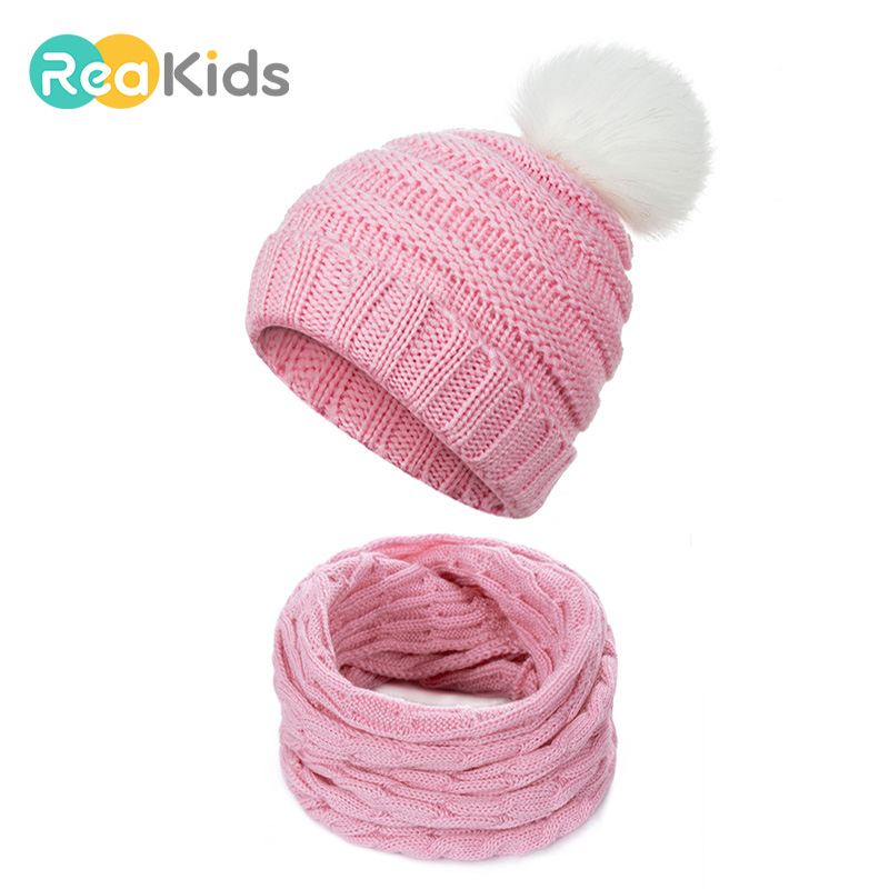 Boys' Baby Clothing Reakids New Winter Pompon Baby Hat Cartoon Knitted Cotton Children Warm Hat For Girls Boys Knitted Beanies Winter Baby Hat Hats & Caps