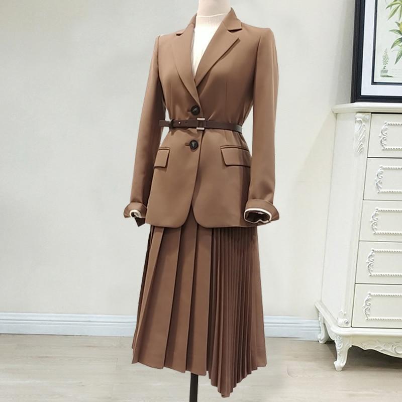 Women Skirt Suit 2 Piece Set Fashion Office Lady Business Work Wear Slim Suit Jacket Blazer Pleated Skirt Uniform Big Plus Size