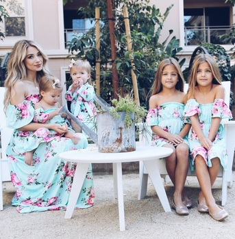 off shoulder mother mom and daughter dresses family matching outfits mommy and me clothes family look floral mum mama baby dress