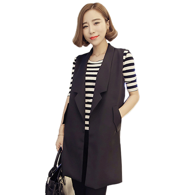 3XL Womens Plus Size Sleeveless Vests Black Long Women's Vests 2017 Spring Open Stitch Vest Jackets veste femme