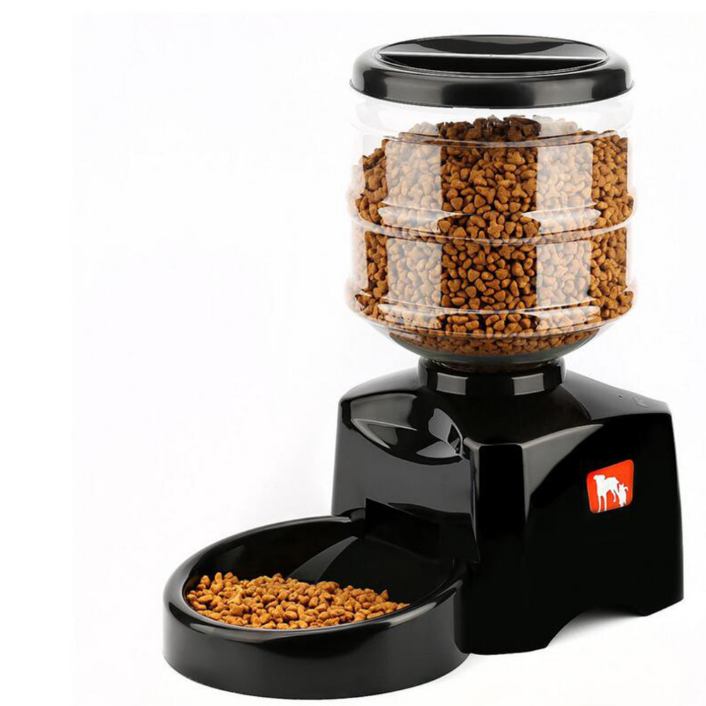 Hoopet 5.5L Automatisk Pet Feeder med Voice Message Recording og LCD Skærm Store Smart Hunde Katte Food Bowl Dispenser Black