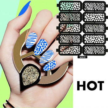 wholesale Reusable Unique Pattern Stamping Nail Art Hollow Template Diecut Stencil Sticker Decal Guide 500pcs/lot free shipping