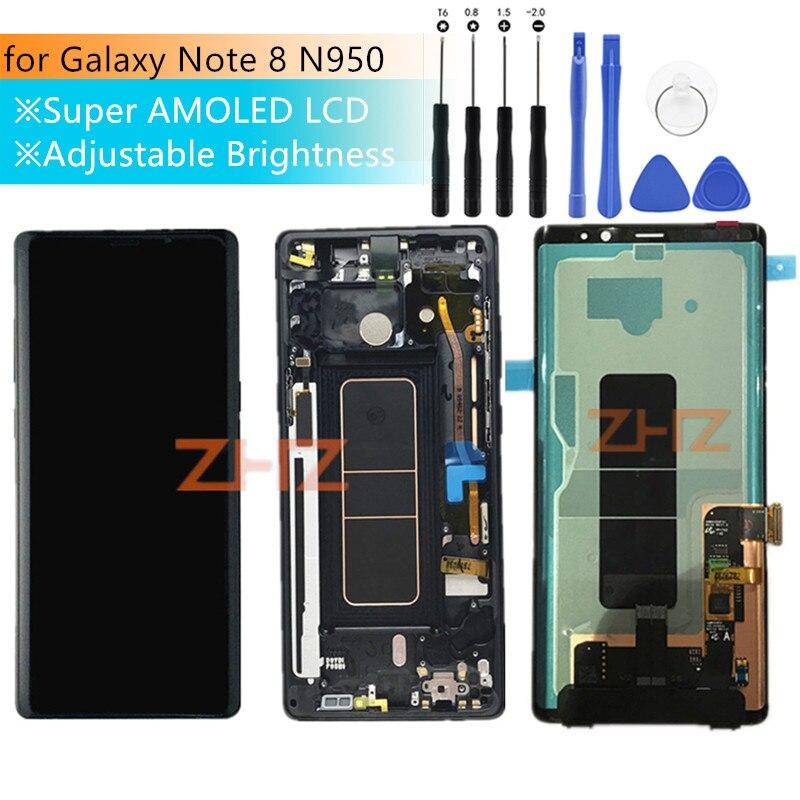 Super Amoled pour Samsung Galaxy Note 8 lcd Digitizer Assemblée avec Cadre pour Samsung Note 8 écran lcd N950F réparation pièces testé