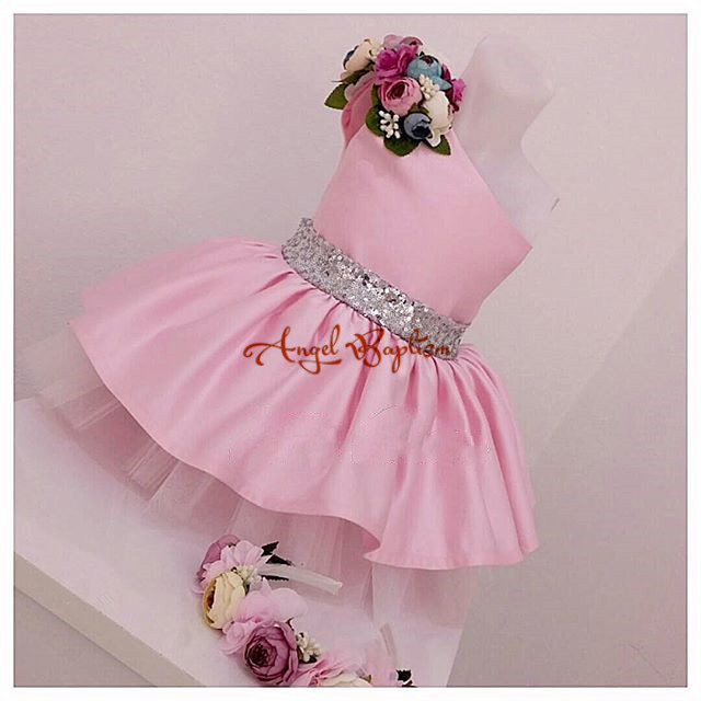 One Shoulder Pink Flower Girl Dresses with Floral for baby first Birthday Ball Gowns prom party dress knee-length with bling bow vintage emerald green backless flower girl dress with golden sequins knee length short baby 1 year birthday gowns with big bow