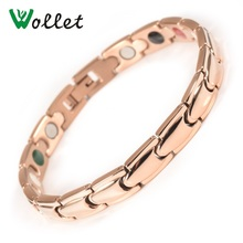 Wollet Jewelry 316L Stainless Steel Bracelet for Men Women Rose Gold Color 5 IN 1 Magnetic Infrared Germanium Powder Tourmaline недорого