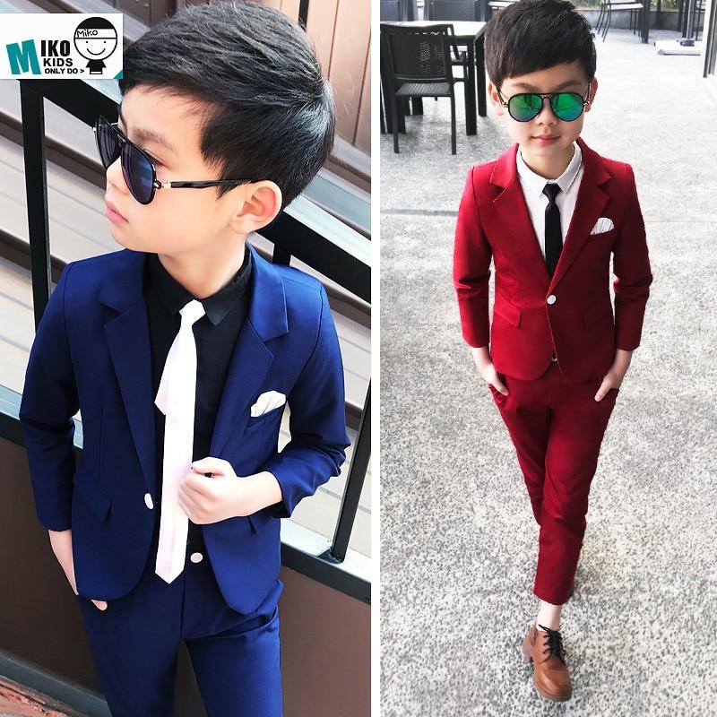 >New Arrival <font><b>2019</b></font> Spring Wedding Suit for Boys Blazers Pants 2Pcs Formal Blazer Suit Children RED/BLUE Clothing Set 2-10Y Costume
