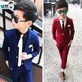 Nova chegada 2019 primavera terno de casamento para meninos blazers calças 2 pçs blazer formal terno crianças vermelho/azul conjunto de roupas 2-10y traje