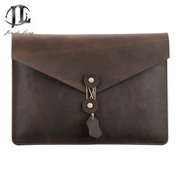 New Retro Crazy Horse Genuine Leather Men Classic Envelope Daily Clutch Bag Business File Document Bags