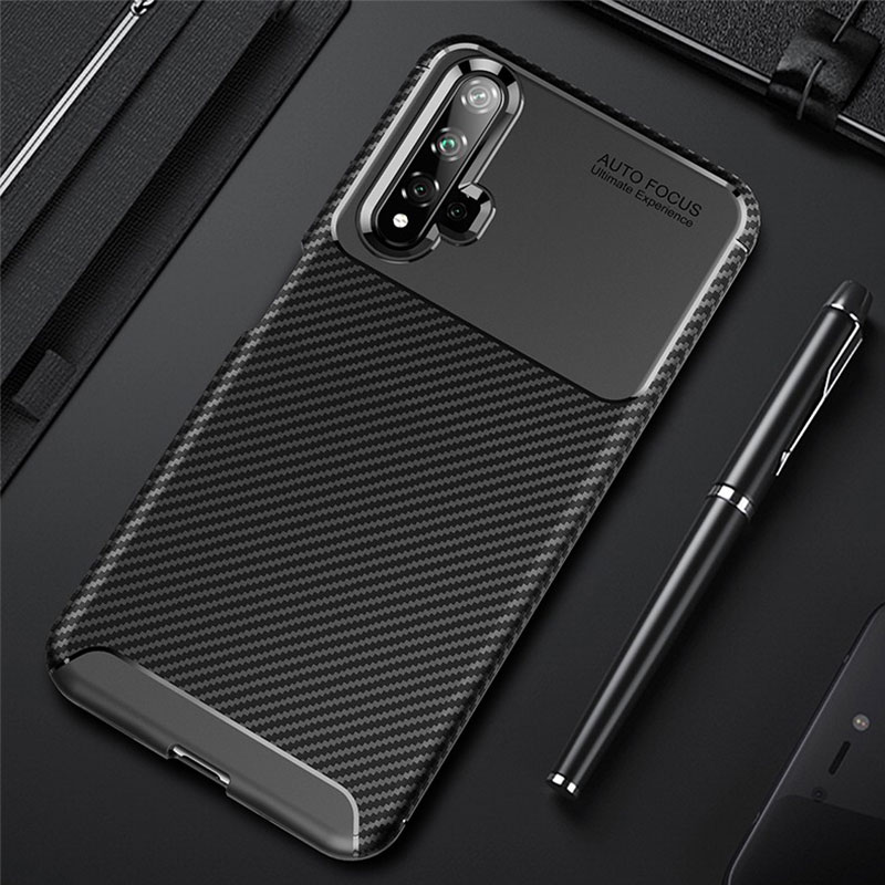 Slim Case For Huawei Honor 20 Case Carbon Fiber Cover Shockproof Phone Case For Honor 20 Pro Lite Case Soft TPU Silicone Bumper image