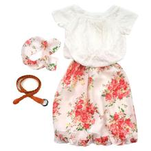 Floral Kids Baby Girls Short Sleeve Tops Shirt+Dress+Belt Outfits Clothes Set A4272