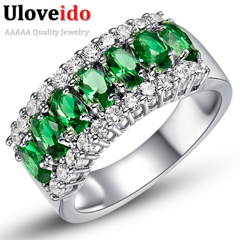 Uloveido Valentine's Day Gift Womens Silver Plated Red Wedding Large Colored Ring Red Green Zircon Sets Ringen Jewelry 2017 J501