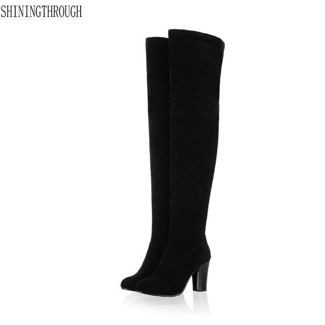 Sahte Süet Seksi uyluk yüksek çizmeler Kadın diz çizmeler Bayanlar Yüksek topuklu Kışlık botlar siyah mavi gri sarı ayakkabı