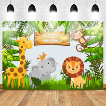 Jungle Safari Woodland Party Photo Backdrops Animal Forest Child Kids Birthday Banner Photography Background Props