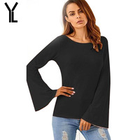 YL 2017 Summer T-Shirt Women Sexy Back Hollow Out Regular T-Shirt New Fashion O-Neck Flare Sleeve T-Shirt Plus Size