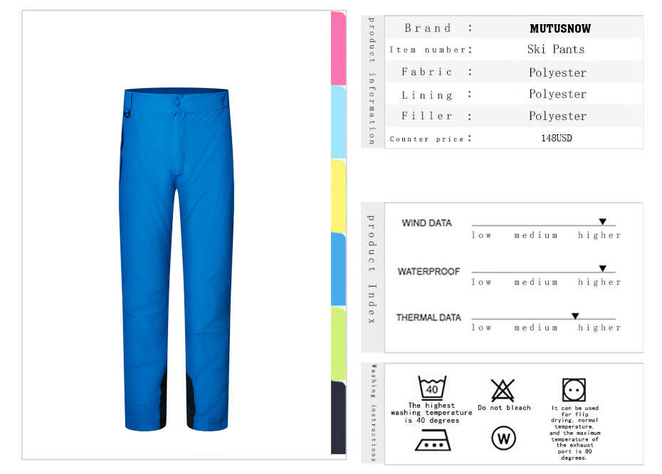 2019 New High Quality Waterproof Windproof Men's Ski Pant Snowboard Pant for Men Outdoor Winter Thermal Male Breathable Trousers